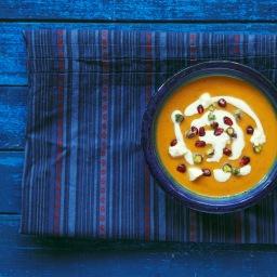 Мароканска супа с печена тиква и козе сирене